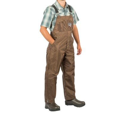 """Made in U.S.A. Dan's bibs are briar proof and feature 24"""" heavy duty leg zippers, fly with snap closure, rivets on all stress points, button side fasteners, adjustable elastic shoulder straps with top quality metal fasteners and large chest pockets with snap closures."""