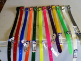 1 inch wide dog collar with a D Ringdog collar in High visibility collars Polyurethane coated nylon Soil odor resistant Water repellent Wide