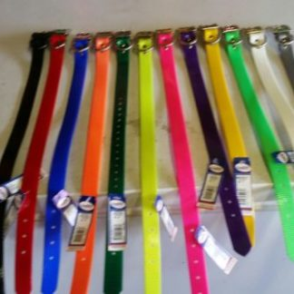 1 inch wide dog collar with a D Ring dog collar in High visibility collars Polyurethane coated nylon Soil odor resistant Water repellent Wide
