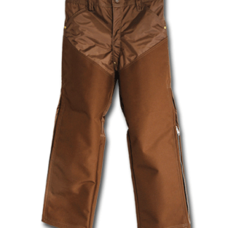 These pants are made with 420 Denier Nylon and have 1000 Denier Magnatuff on the front and up to the knees on the back. Features include leg zippers, zipper fly, 4 deep pockets, and rivets on stress points. Made in U.S.A.