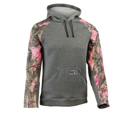 pull-over briar hoodie is made of sweatshirt fleece with protective nylon sleeves.